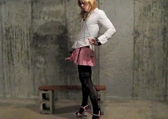 Sissy crossdresser desperatetranny cums in a glass bowl