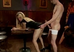 Blonde shemale Paris gets anal going to bed in chum around with annoy coffee bar
