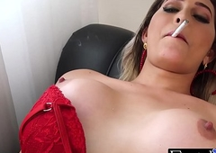 Ts indulge Bellatrix smokes and strokes the brush erected donger