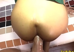 Tiny tits t-girl acquires their way anal invasion reamed